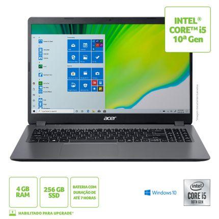 "Notebook - Acer A315-54-561d I5-10210u 1.60ghz 4gb 256gb Ssd Intel Hd Graphics Windows 10 Home Aspire 3 15,6"" Polegadas"