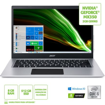 "Notebook - Acer A514-53g-571x I5-1035g1 2.40ghz 8gb 512gb Ssd Geforce Mx350 Windows 10 Home Aspire 5 14"" Polegadas"
