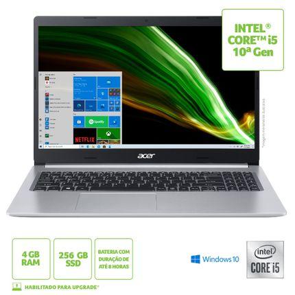 "Notebook - Acer A515-54-56w9 I5-10210u 1.60ghz 4gb 256gb Ssd Intel Hd Graphics Windows 10 Home Aspire 5 15,6"" Polegadas"
